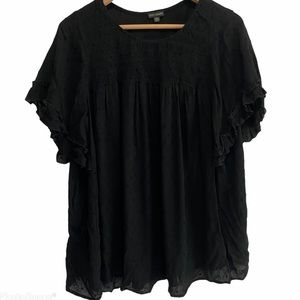 Coco + Carmen Black Flutter Sleeve Peasant Blouse